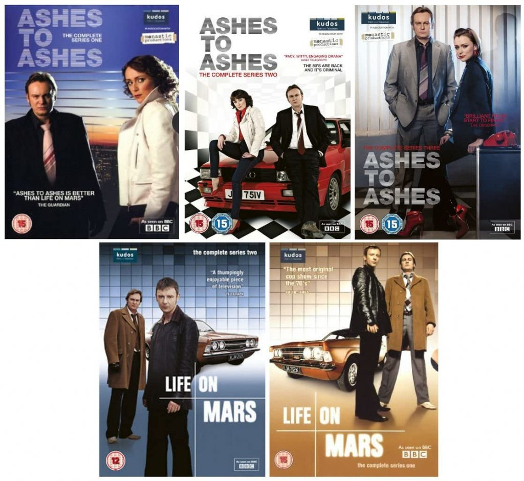 DVD Box Art for Life on Mars & Ashes to Ashes on my post Happy Place TV Box Sets